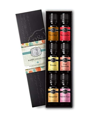 Watermelon Scent - Happy Set of 6 Fragrance Oils - Premium Grade Scented Oil - 10ml - Root Beer, Watermelon, Banana, Pink Lemonade, Orangesicle, Bubble Gum