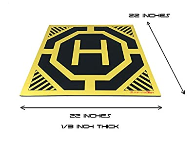 XL Drone and Quadcopter Landing Pad 22-inch by 22-inch - Highly Visible Design, Protect Your Investment With a Soft Landing Surface Made of Eco-Friendly Rubber and Waterproof Cloth by Sunfyre Tek from Sunfyre Tek