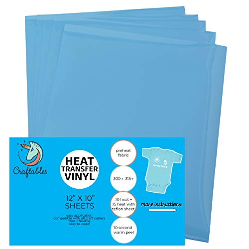 (5) 12 x 9.8 Sheets of Craftables Light Blue Heat Transfer Vinyl HTV - Easy to Weed Tshirt Iron on Vinyl for Silhouette Cameo, Cricut, All Craft Cutters. Ships Flat, Guaranteed Size