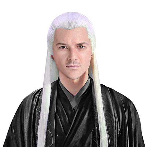 Men Wudang Priest Wig Asian Ancient Chinese Costume Accessory Halloween Hairpiece Long White Straight Hair