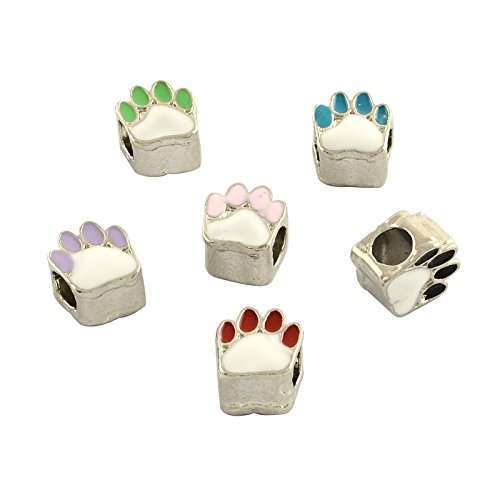 NBEADS 50 PCS Random Mixed Color Alloy Enamel European Beads, Dog Paw Prints Large Hole European Charms Beads fit Bracelet Jewelry - Enamel Paw Bead Print