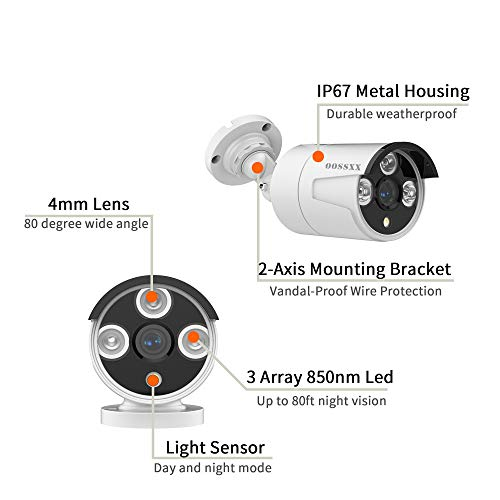 【Microphone Inside】 OOSSXX Outdoor/Indoor Video Surveillance Security Waterproof Wired POE Camera,Home IP 5MP Camera,Night Vision,Just Extend for OOSSXX POE Kits