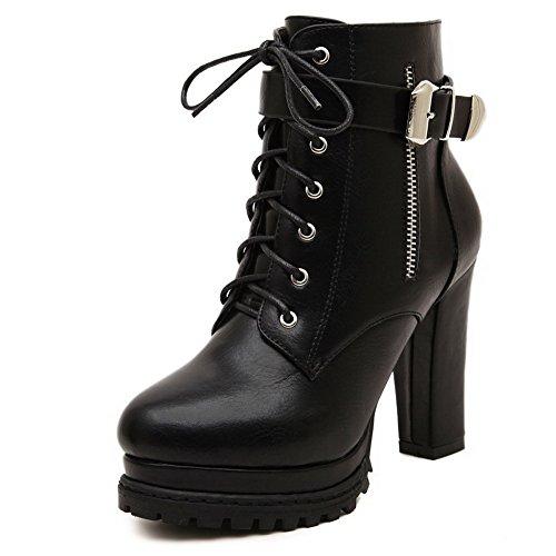 VogueZone009 Damen Schließen Zehe Blend-Materialien Niedrig-Spitze Hoher Absatz Stiefel Schwarz-Knoten