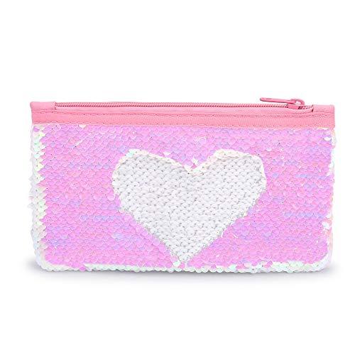 Cute Kids Pencil Case Glitter Reversible Sequin Pen Pencil Pouch for Girls Cosmetic Makeup Organizer Bag Purse for Women (Pink)