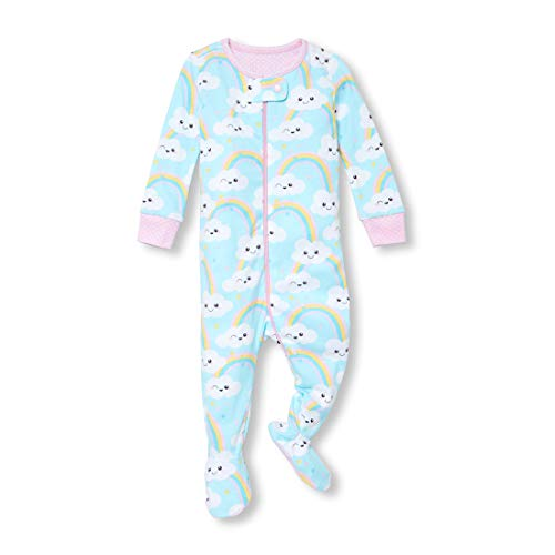 - The Children's Place Baby Girls Novelty Printed One Piece Long Sleeve Footed Sleeper, Multi CLR, 4T