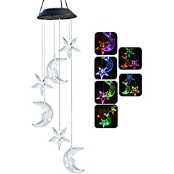 Chasgo Solar Wind Chime Color Changing Solar Mobile Moon and Star Wind Chime LED Moon Light Outdoor Mobile