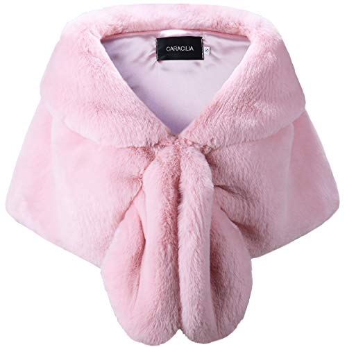 - Caracilia Faux Fur Shawl Wrap Stole Shrug Winter Bridal Cover Up Pink L CA95