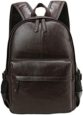 Men Backpack from Faux Leather Casual Style Travel Laptop Shoulder Bag Rucksack