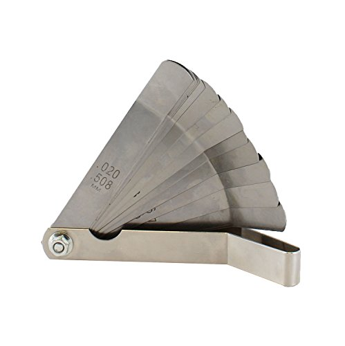 ABN Universal Standard SAE and Metric Offset Valve Feeler Gauge 16-Piece Blade Tool for Measuring Gap Width/Thickness