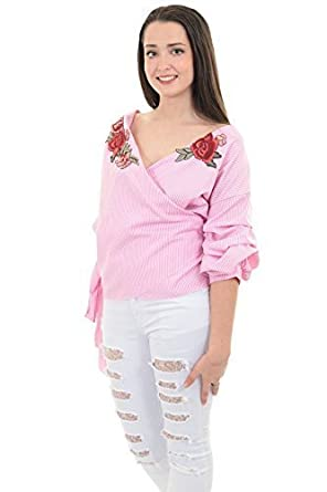9f55178e25bd99 Sapphire Boutique by Sapphire Ladies 3/4 Ruffle Sleeve Wrap Front Gingham  Tie up Floral Embroidery Blouse Top [Pink Check, OneSize]: Amazon.co.uk:  Clothing