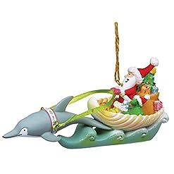 Beach Themed Christmas Ornaments Cape Shore Coastal Santa in Sea Shell Sleigh Dolphin Reindeer Holiday Ornament beach themed christmas ornaments