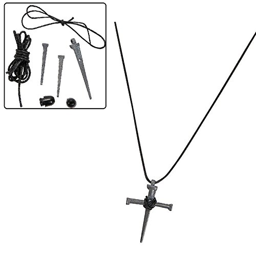 Pewtertone Metal Nail Cross Necklace Craft Kits (1 dz) Cross Necklace Craft Kit