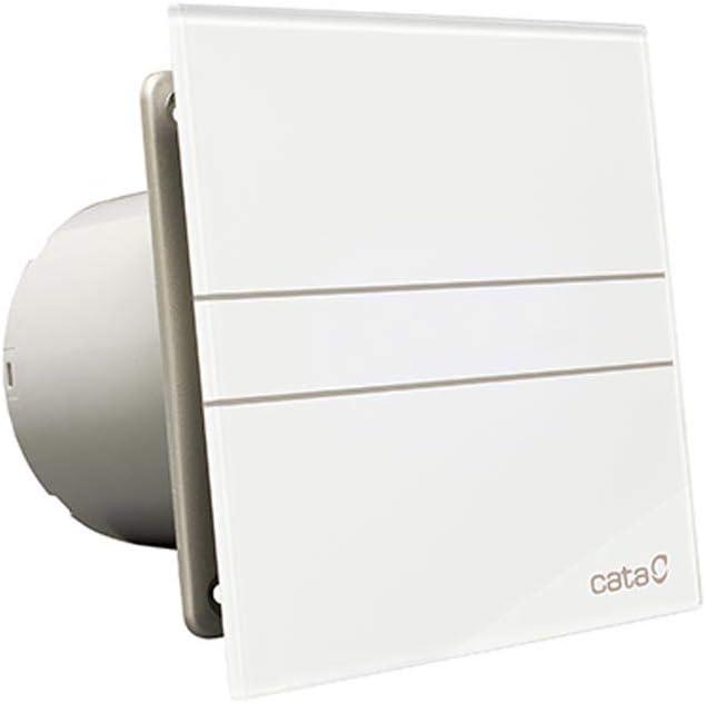 Cata | Extractor Baño | Modelo E-120 g | Extractor de Baño Serie E Glass | Extractores de Aire | Extractor Baño Silencioso | Extractor de Aire para Baño | Cristal Blanco