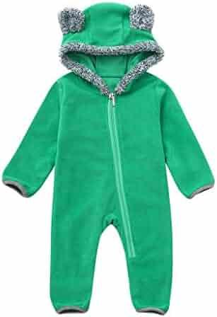 b096009e0cb FORESTIME Newborn Infant Baby Girls Boys One Piece Romper Winter Warm  Hooded with Ear Jumpsuit Bodysuit