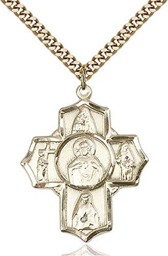 14K Gold Filled Special Devotion Scapular Five-Way Medal 14kt 5 Way Medal