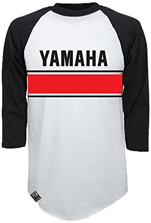 Factory Effex 17-87236  'YAMAHA' Vintage Raglan Baseball Shirt (White/Black, X-Large)