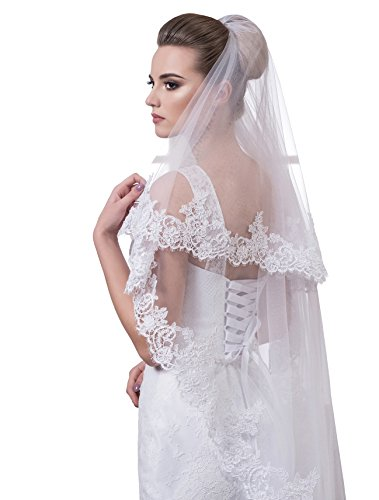 "Bridal Veil Sharon from NYC Bride collection (short 30"", ivory) by NYC Bride"