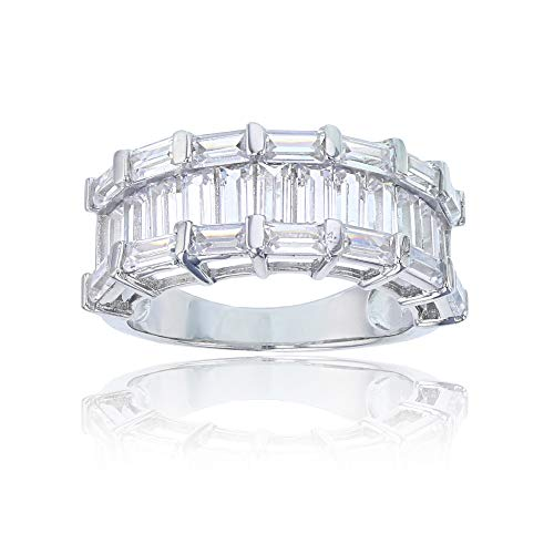 Sterling Silver Twin Baguette Cut 7 Stone Cubic Zirconia Anniversary Band Ring