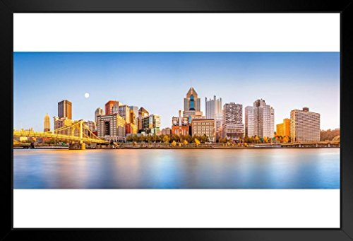 (Pittsburgh Pennsylvania Downtown Skyline Panoramic Photo Framed Poster 14x20 inch)
