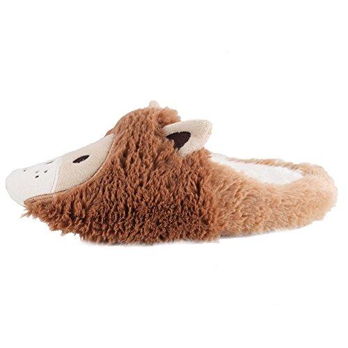 Meeshine Women Winter Indoor Animal Slipper Warm Soft Fuzzy Lion House Slippers Brown Xsepz