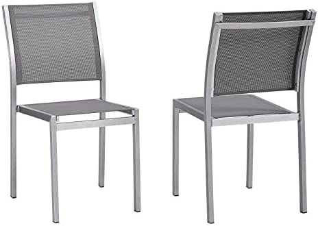 Modway EEI-2585-SLV-GRY-SET Shore Side Chair Outdoor Patio Aluminum Set of 2 in Silver Gray, Two Dining