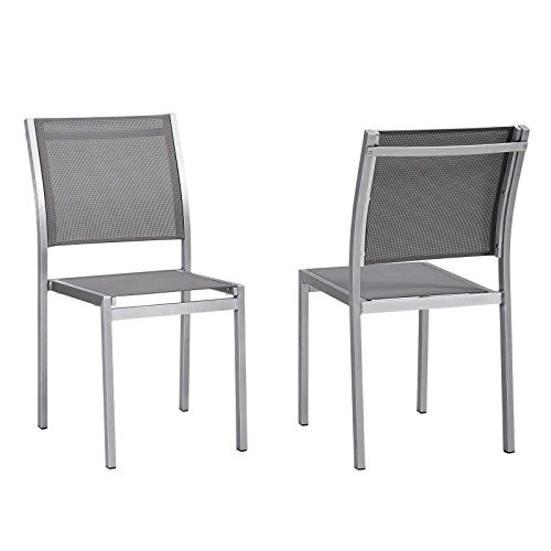 Modway EEI-2585-SLV-GRY-SET Shore Outdoor Patio Aluminum Side Chair, Two Dining, Silver Gray
