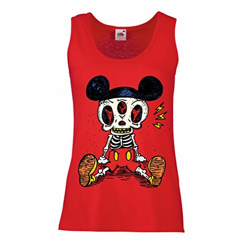 Sleeveless t shirts for women Mouse Skeleton Halloween party outfits Trick or Treat Death Skull design (Small Red Multi Color)