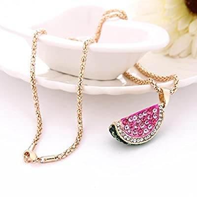 iLH® Clearance Deals Watermelon Pendant Necklace Women Charm colorful Watermelon Rhinestone Cute Necklace Jewelry by ZYooh