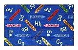 Crayons Blue Multi - 2'x3' Custom Stainmaster Premium Nylon Carpet Area Rug ~ Bound Finished Edges
