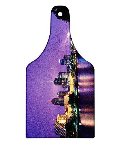 Lunarable Australia Cutting Board, Melbourne Night Urban Mega City Modern Architecture Skyscrapers Colorful Sky, Decorative Tempered Glass Cutting and Serving Board, Wine Bottle Shape, Multicolor