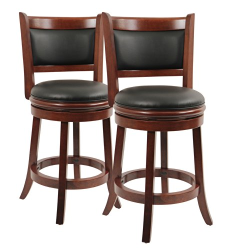 Boraam 9824 Augusta Counter Height Swivel Stool, 24-Inch, Cherry, 2-Pack