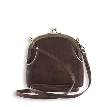 Dark brown purse style clutch bag or shoulder bag in antique style ...