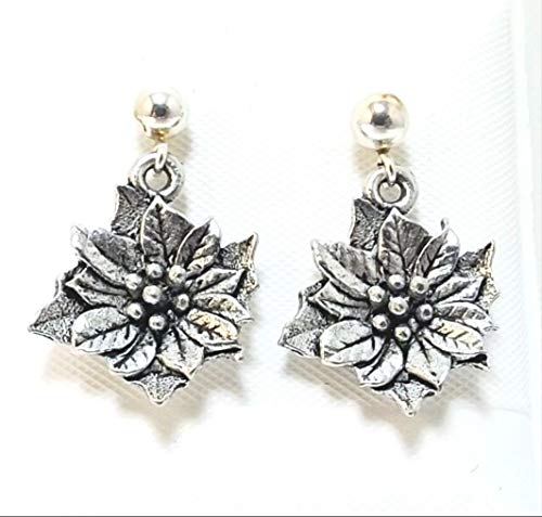 Pewter Poinsettia Charms on Sterling Silver Ball Post Stud Earrings 5322 for Jewelry Making Bracelet Necklace DIY Crafts
