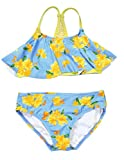 LEINASEN Kids Two Piece Bathing Suits for Little/Big Girls, Adorable Floral Printing Bikini Swimsuits