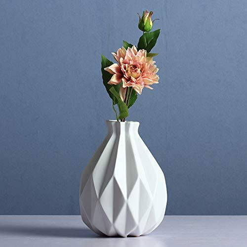 NEWQZ Modern Geometric Pattern Stoneware Vase, Porcelain Vase for Home Decor, 9.25 H, White