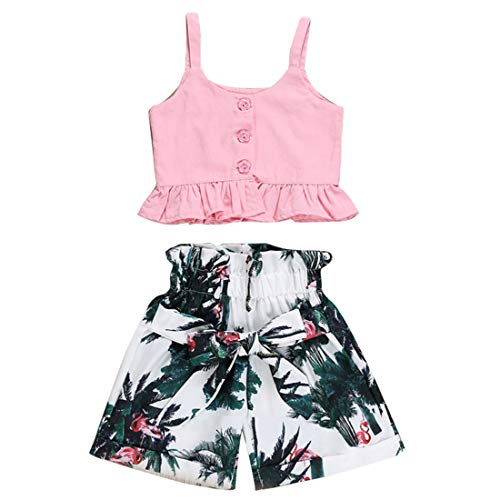 Toddler Baby Girl Pink Halter Ruffle Tank Crop Tops + Floral Shorts Pant with Bowknot Two Piece Summer Strap Outfits (Ruffled Pink, 1-2 Years)
