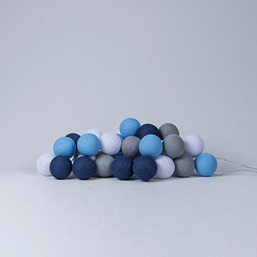 Cotton Ball Lights LED Lichterkette, Baumwolle, Weiß/Baby Blau/Stein / Stahlblau 716855431868