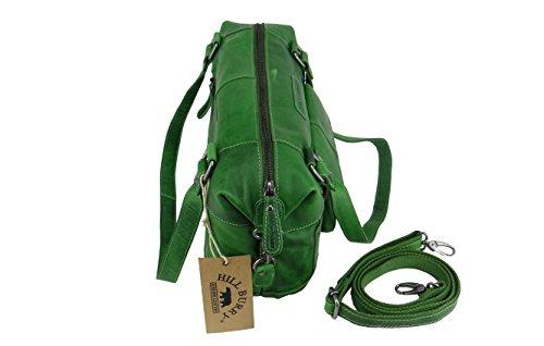HILL BURRY Damen Schultertasche Shopper Bag Leder Vintage 3088 grün