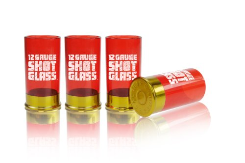 Mustard Plastic Shot Glass Shooter - Red 12 Gauge Cartridge]()
