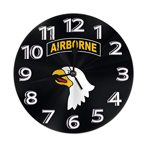 Flypo-yoc U.S. Army 101st Airborne Logo Modern Simple Wall Clock Indoor Non-Ticking Silent Sweep Movement Wall Clock for Office Bathroom Livingroom Decorative 10 Inch