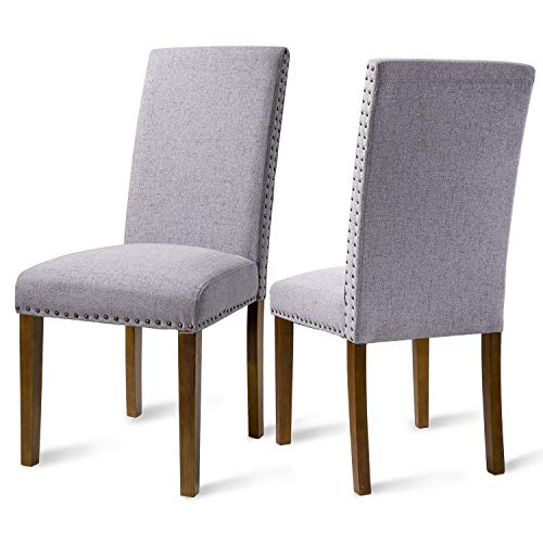 Dining Chairs Dining Room Chairs - Kitchen Chairs Solid Wood Tufted Parsons Dining Chair Set of 2, Easy to Assemble,Hold 300 Lbs ()