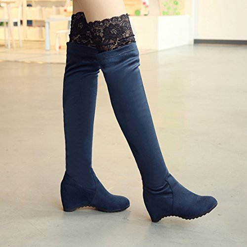 Toe Internal Knee Boots the Autumn Winter AIYOUMEI Wedges Increased Round Over Women's Lace Blue qvwxqtUBX