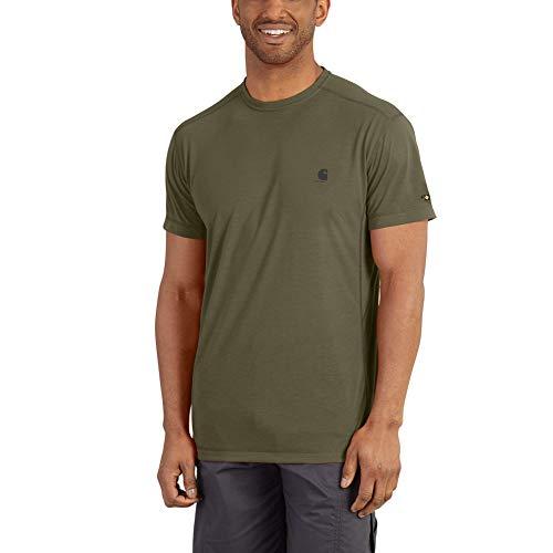 Carhartt Men's Force Extremes Short Sleeve T Shirt, Burnt Olive, - Carhartt Dry T-shirt Work