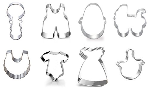 Baby Shower Cookie Cutter Set of 8 - Stroller, Onsie & Bib
