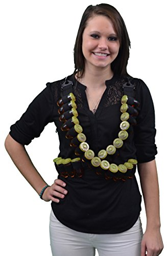 Fairly Odd Novelties FON-10049 Shot Ammo Bandolier w/ 28 Bullet Shaped Plastic Glasses with Lids Perfect Party Novelty Gift, Black ()