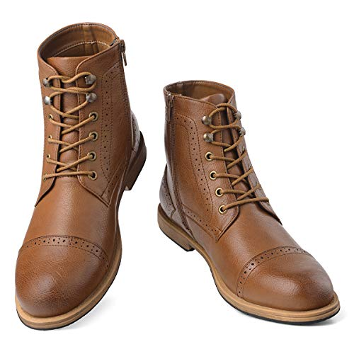 (Men's Dress Boots Brogue Oxfords-Cap Toe Lace-Up Zip Ankle Boots Work Combat Motorcycle Brown 9)