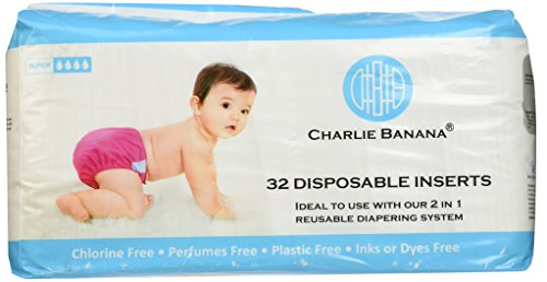 Charlie Banana Disposable Inserts In Bag, Natural, 32 Count