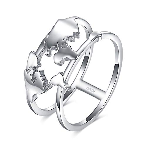 JewelryPalace 925 Sterling Silver World Map Split Shank Double Band Statement Ring size 8