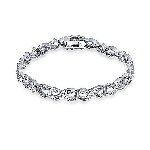 Figure Eight Tennis Bracelet (Bling Jewelry Infinity Figure Eight CZ Tennis Bracelet 925 Sterling Silver 7.5in)