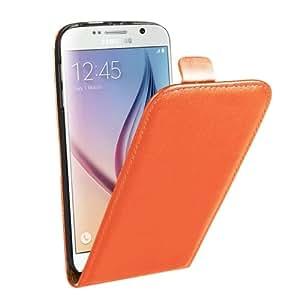 Vertical Flip Genuine Split Leather Case for Samsung Galaxy S6(Orange)